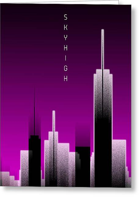 Graphic Art Skyhigh Panoramic Lights - Pink Greeting Card by Melanie Viola