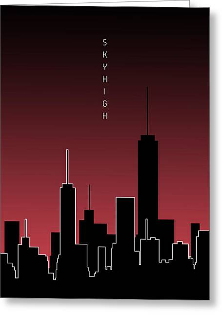 Graphic Art Skyhigh - Red Greeting Card