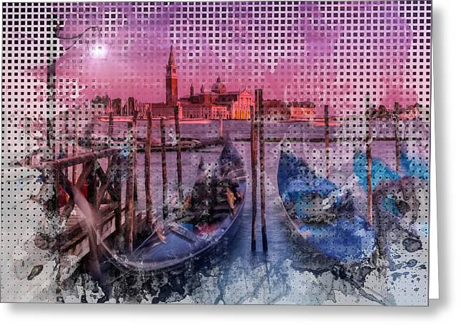 Graphic Art Venice Gorgeous Sunset Greeting Card by Melanie Viola
