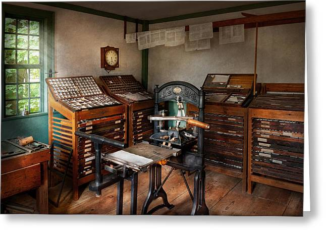 Graphic Artist - The Print Office - 1750  Greeting Card by Mike Savad