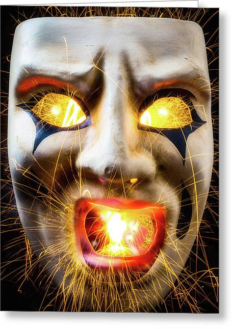 Graphic Hot Mask Greeting Card by Garry Gay