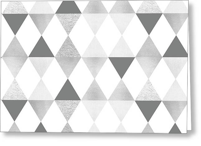 Graphic Pattern Geometric Triangles - Lightgrey And Silver Greeting Card