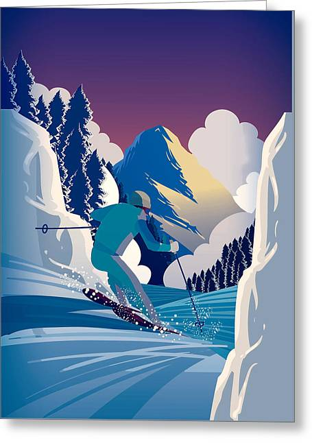 Graphic Skiing Down The Mountain Greeting Card