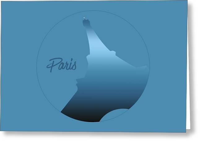 Graphic Style Paris Eiffel Tower Blue Greeting Card by Melanie Viola