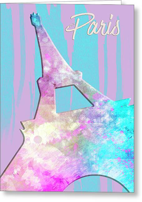 Graphic Style Paris Eiffel Tower Pink Greeting Card by Melanie Viola