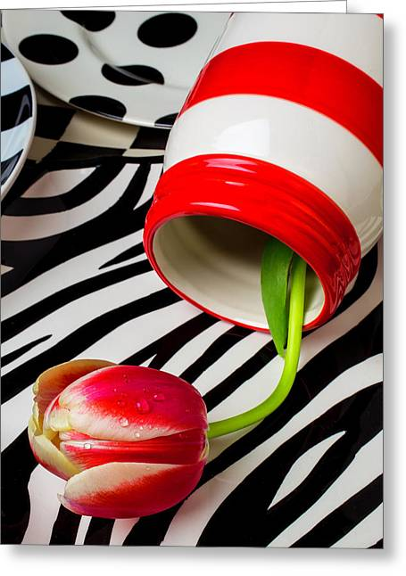 Graphic Tulip And Jar Greeting Card by Garry Gay