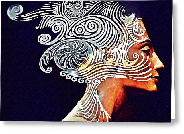 Pharaoh Mixed Media Greeting Cards - Graphism For Nefertiti Greeting Card by Paulo Zerbato