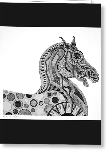 Greeting Card featuring the painting Graphite Horse by Bob Coonts