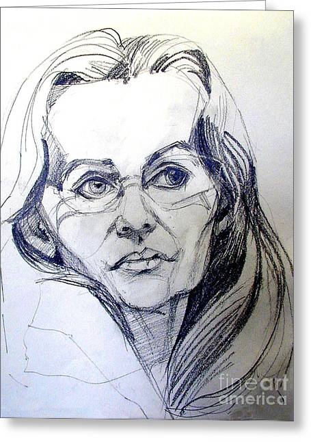 Greeting Card featuring the drawing Graphite Portrait Sketch Of A Woman With Glasses by Greta Corens