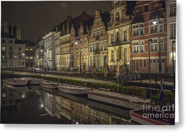 Graslei In Ghent At Night Greeting Card