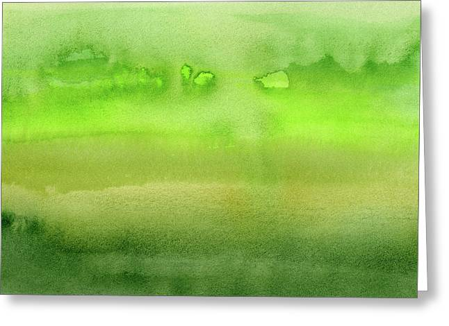 Grass Green Abstract Watercolor Greeting Card