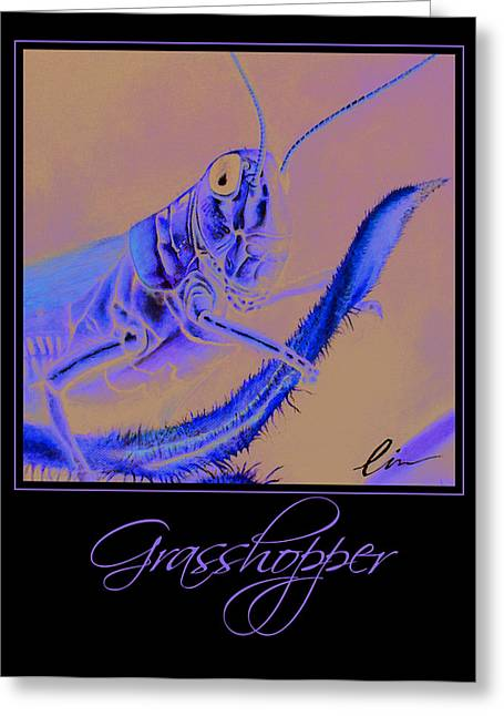 Grasshopper Paintings Greeting Cards - Grasshopper Poster Greeting Card by Cindy D Chinn