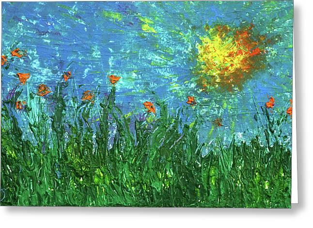 Grassland With Orange Flowers Greeting Card by Erik Tanghe