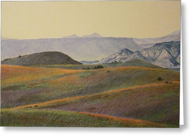 Greeting Card featuring the pastel Grasslands Badlands Panel 2 by Cris Fulton