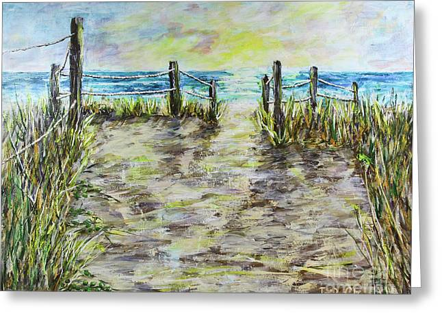 Grassy Beach Post Morning 2 Greeting Card