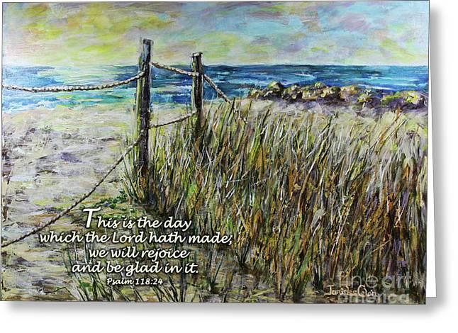 Grassy Beach Post Morning Psalm 118 Greeting Card
