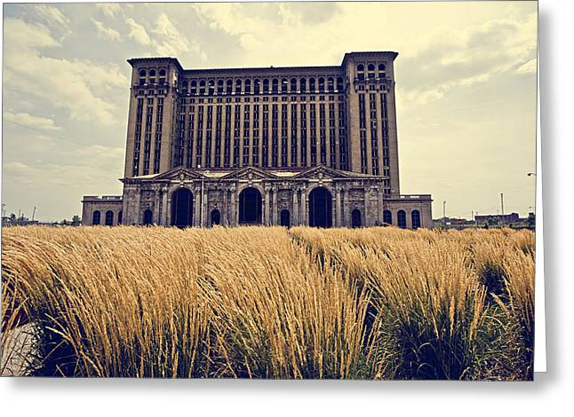 Michigan Greeting Cards - Grassy Michigan Central Station - Detroit Greeting Card by Alanna Pfeffer