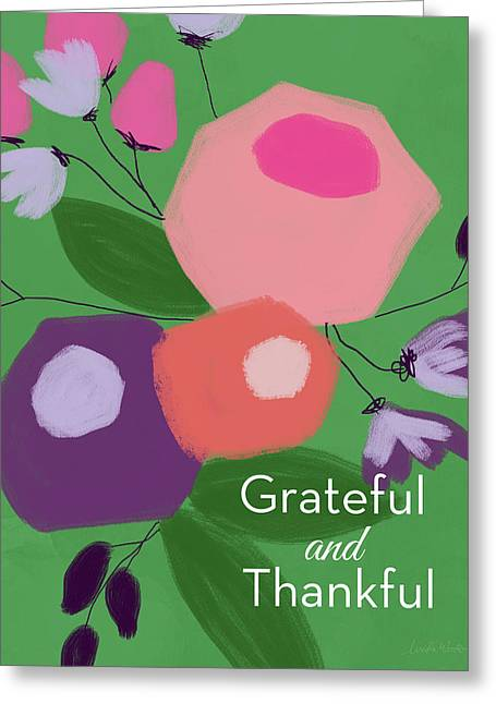 Grateful And Thankful Flowers 1- Art By Linda Woods Greeting Card