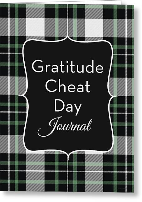 Gratitude Cheat Day Journal Plaid- Art By Linda Woods Greeting Card