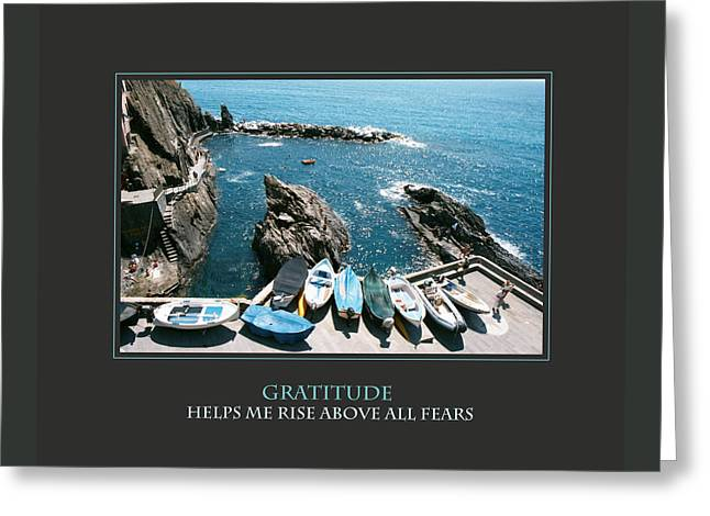 Gratitude Helps Me Rise Above All Fears Greeting Card by Donna Corless