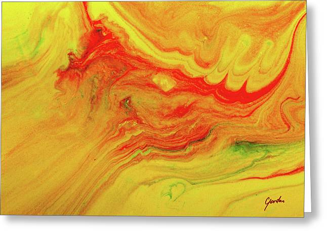 Gratitude - Red And Yellow Colorful Abstract Art Painting Greeting Card