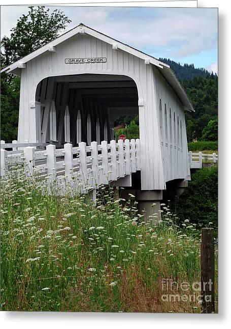 Historic Bridge Photographs Digital Greeting Cards - Grave Creek Bridge Greeting Card by Methune Hively
