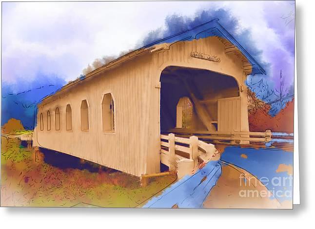 Grave Creek Covered Bridge In Watercolor Greeting Card