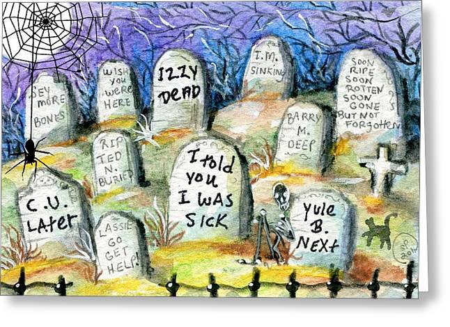 Grave Yard Greeting Card by Sylvia Pimental
