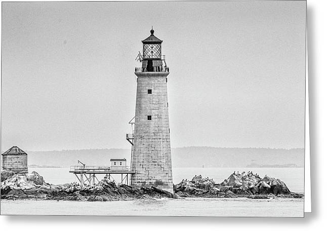 Graves Lighthouse- Boston, Ma - Black And White Greeting Card