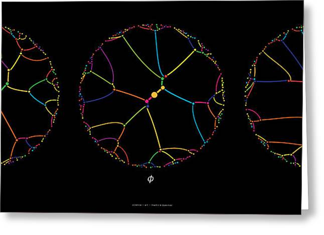 Gravitational Simulation Of 100 Digits Of Pi, Phi And E. Greeting Card