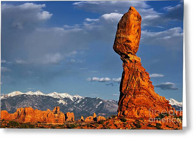 Gravity Defying Balanced Rock, Arches National Park, Utah Greeting Card