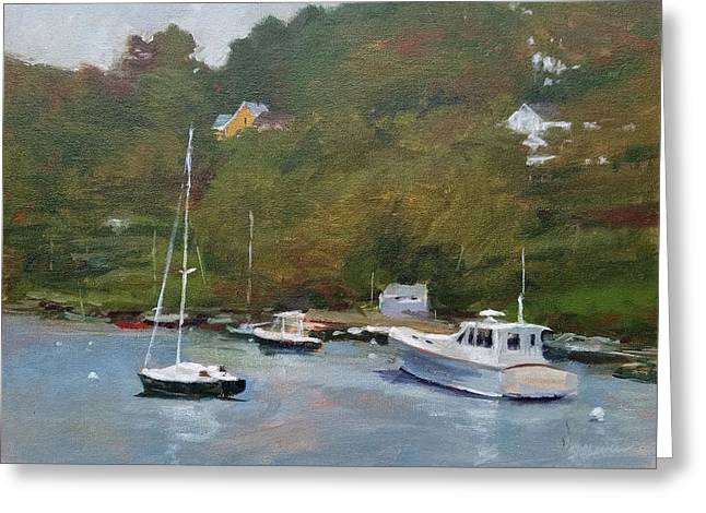 Gray Afternoon At Rockport Harbor Greeting Card by Peter Salwen