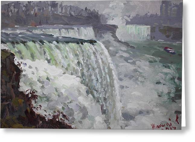 Gray And Cold At American Falls Greeting Card