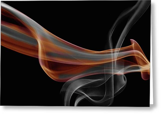 Gray And Orange Smoke Abstract Greeting Card