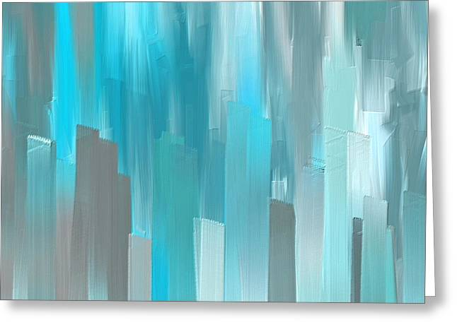 Gray And Teal Abstract Art Greeting Card by Lourry Legarde