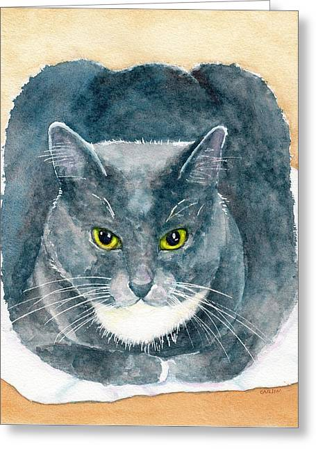 Greeting Card featuring the painting Gray And White Cat With Green Eyes by Carlin Blahnik CarlinArtWatercolor