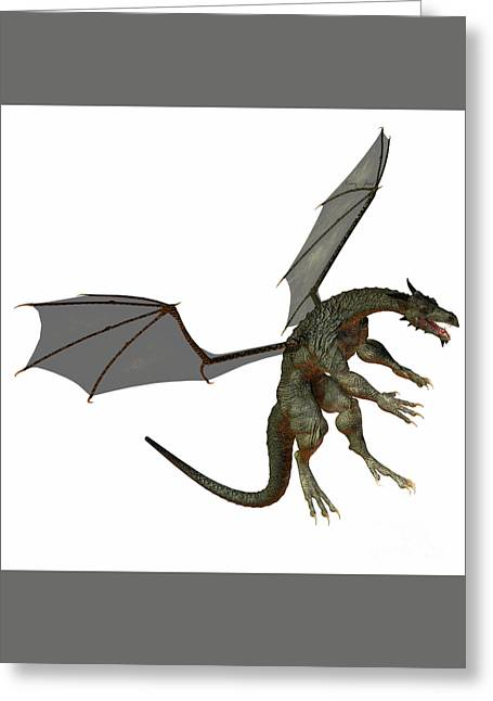 Gray Brown Dragon Greeting Card by Corey Ford