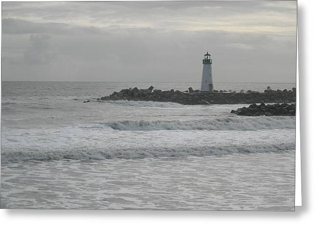 Gray Day Lighthouse Greeting Card by Sharon McKeegan