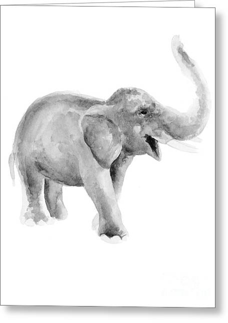 Gray Elephant Watercolor Painting Greeting Card by Joanna Szmerdt