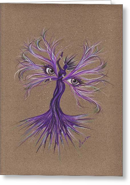 Greeting Card featuring the drawing Gray Eyes by Dawn Fairies