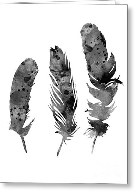 Gray Feathers Watercolor Art Print Painting Greeting Card
