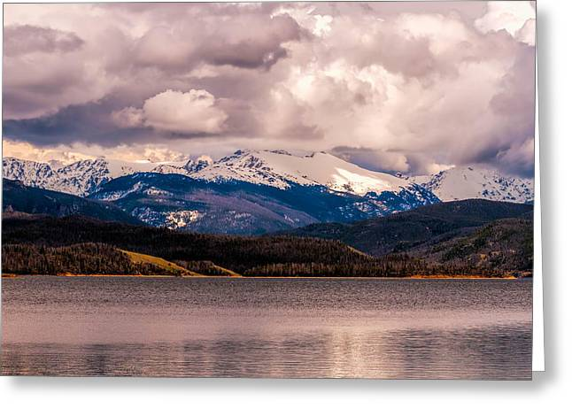 Gray Skies Over Lake Granby Greeting Card by Tom Potter