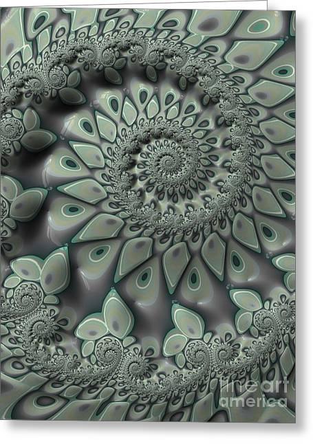 Gray Spiral Greeting Card by John Edwards