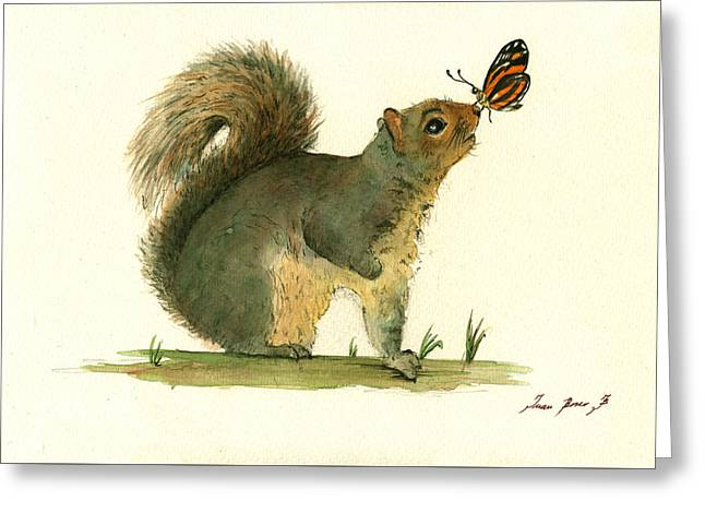 Gray Squirrel Butterfly Greeting Card