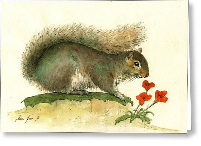 Gray Squirrel Flowers Greeting Card