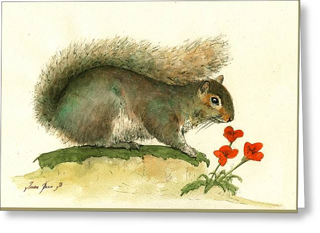 Gray Squirrel Flowers Greeting Card by Juan Bosco