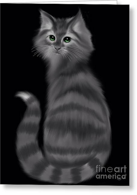 Greeting Card featuring the painting Gray Striped Cat by Nick Gustafson
