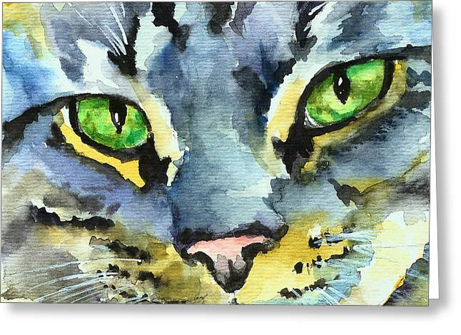 Gray Tabby Striped Cat Greeting Card