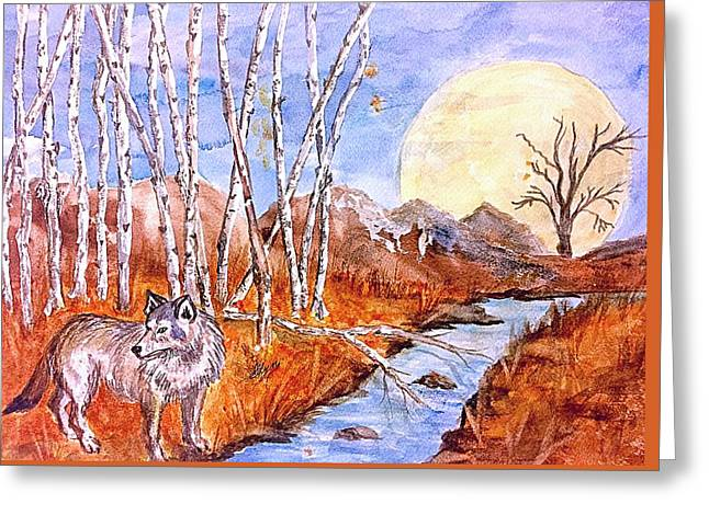 Gray Wolf And Super Moon Greeting Card by Ellen Levinson