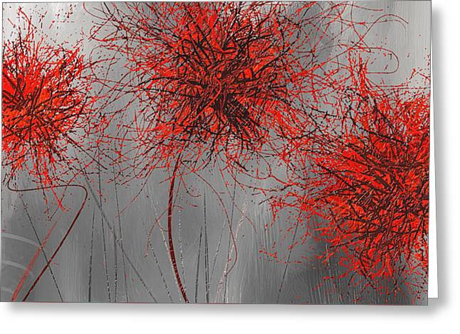 Grayish Vibrant Blooms- Red And Gray Modern Art Greeting Card by Lourry Legarde
